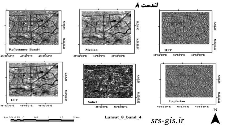 نتایج انواع فیلترها برروی تصاویر لندست 8 | مدرسه سنجش از دور و جی ای اس