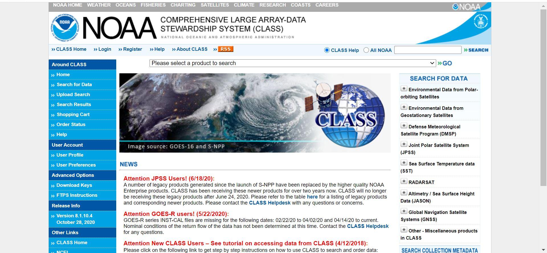 دانلود تصاویر از سایت NOAA CLASS