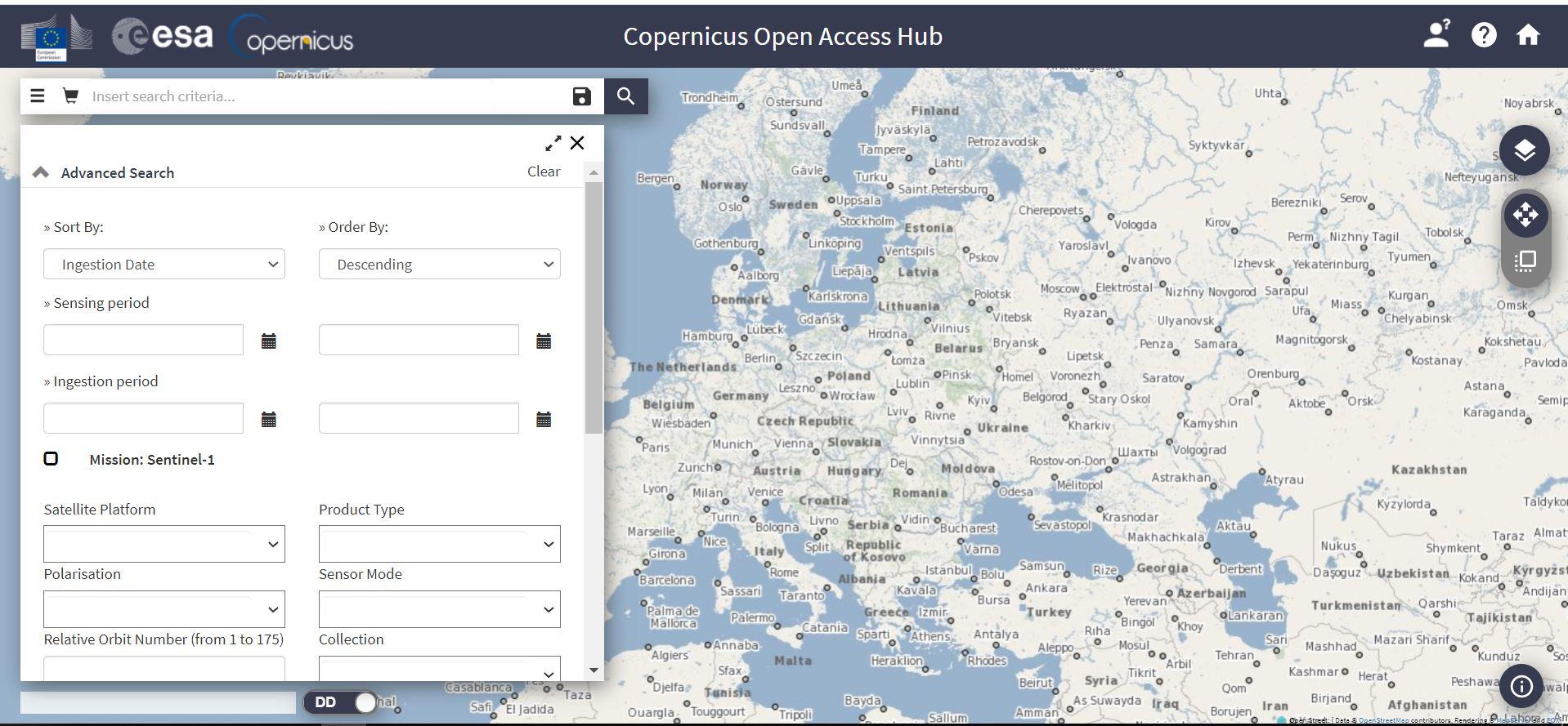 دانلود تصاویر سنتینل از سایت Sentinel Open Access Hub