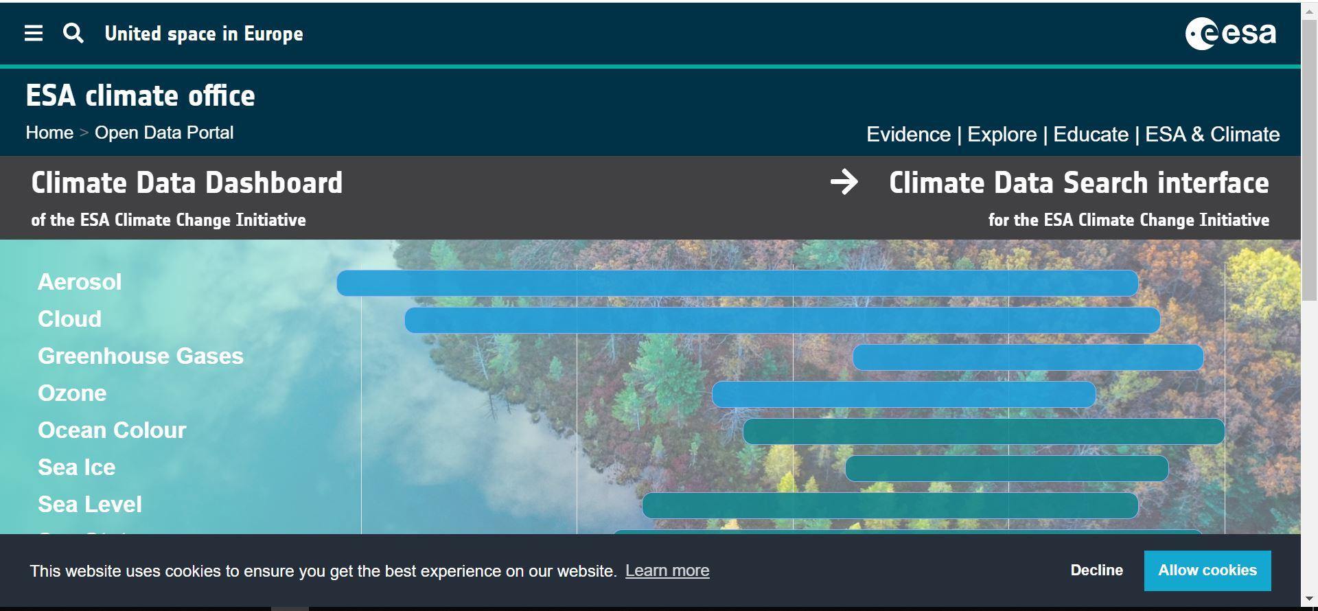 سایت European Space Agency Climate Change Initiative
