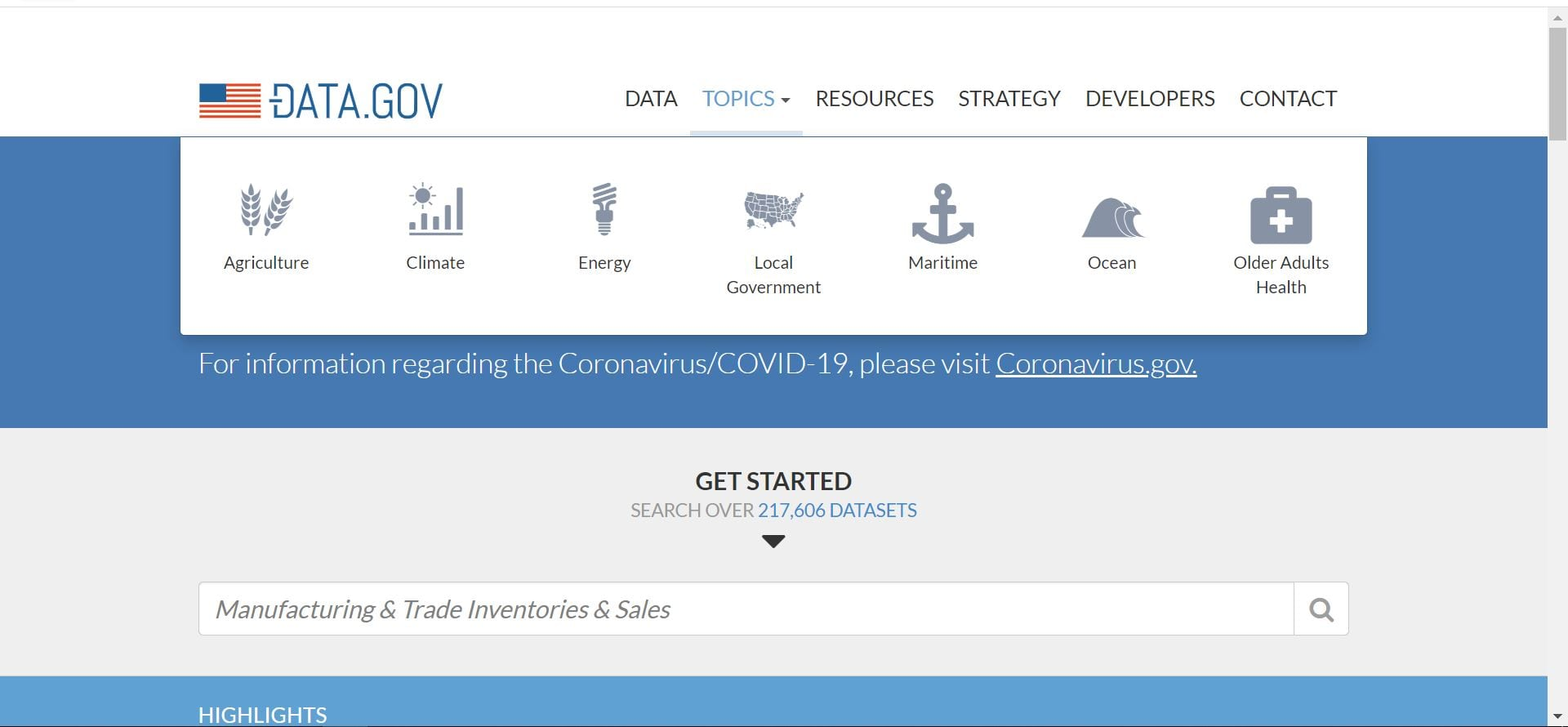 سایت US Government Open Data Initiative