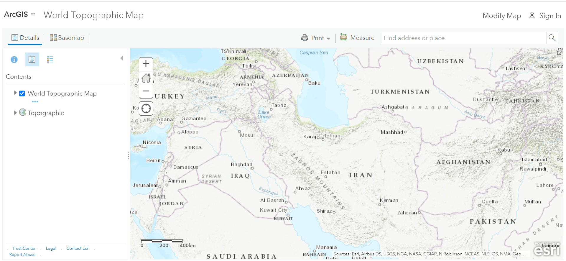 تهیه نقشه توپوگرافی از Esri