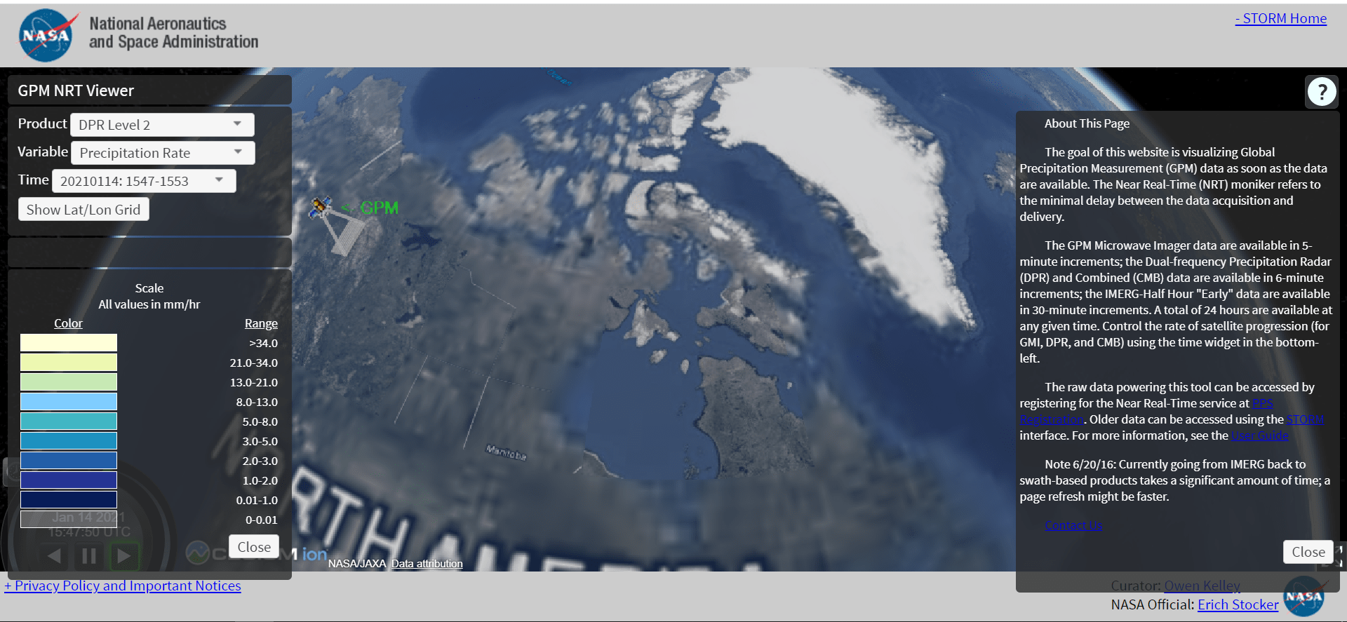 سایت NASA Global Precipitation Measurement (GPM)