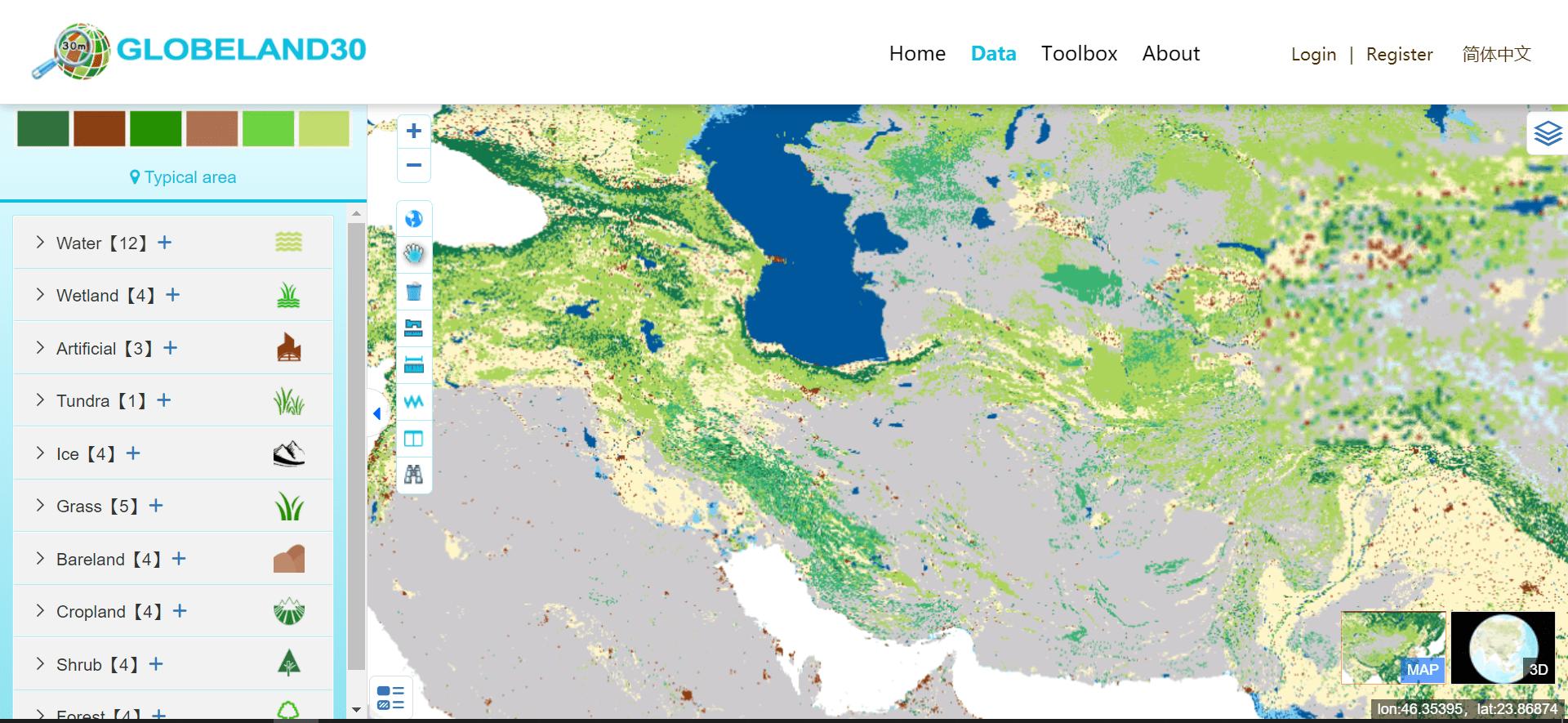 تهیه نقشه کاربری اراضی از سایت GlobeLand30