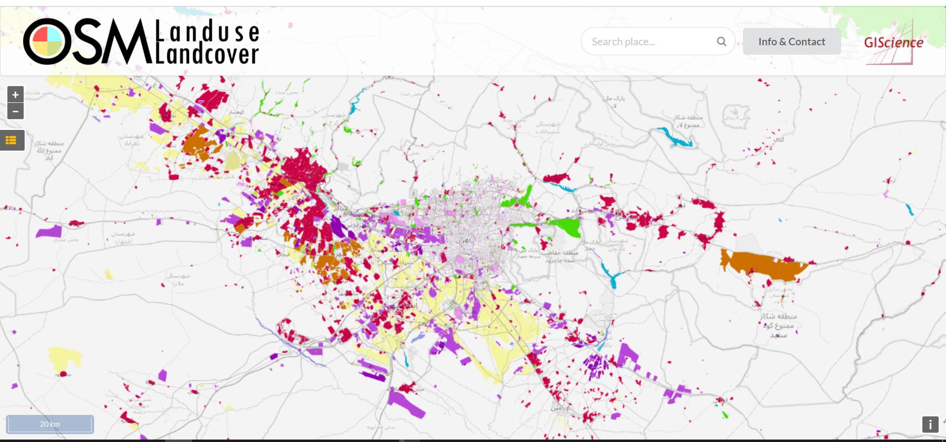 دانلود نقشه پوشش زمین در وبسایت OSM Land Use Data
