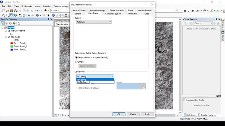 تنظیمات Data frame در آرک جی ای اس